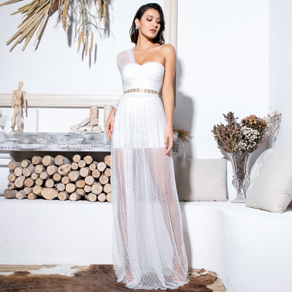 White Strapless Metal Circle Lace Perspective Dot Mesh Fabric Cut Out Long Dress