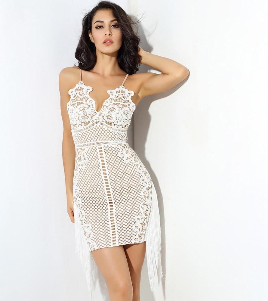 488b391710 Sexy White V-Neck Sling Lace Stitching Tassel Bodycon Party Dress