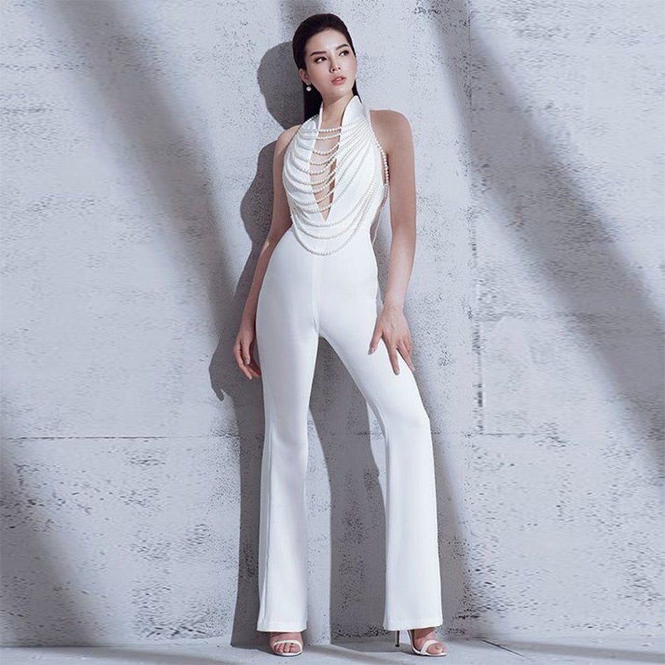 Newest Spring Celebrity Party Women Jumpsuit White Sleeveless Deep V-Neck Beading Boot Cut Sexy Backless Jumpsuit Women