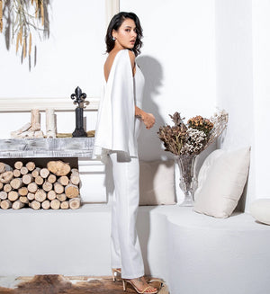 Sexy White Open Back High Waist Fit Jumpsuit LM81359