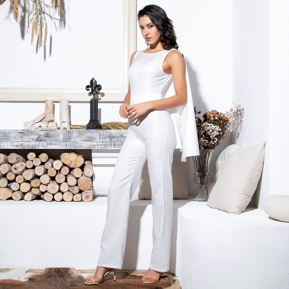 Sexy White Open Back High Waist Fit Jumpsuit