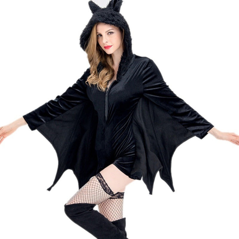 Halloween Bodycon Party Costume Bat Wings Gothic Style V Neck Long Sleeves Plus Size Women Autumn Winter Solid Mini Costume