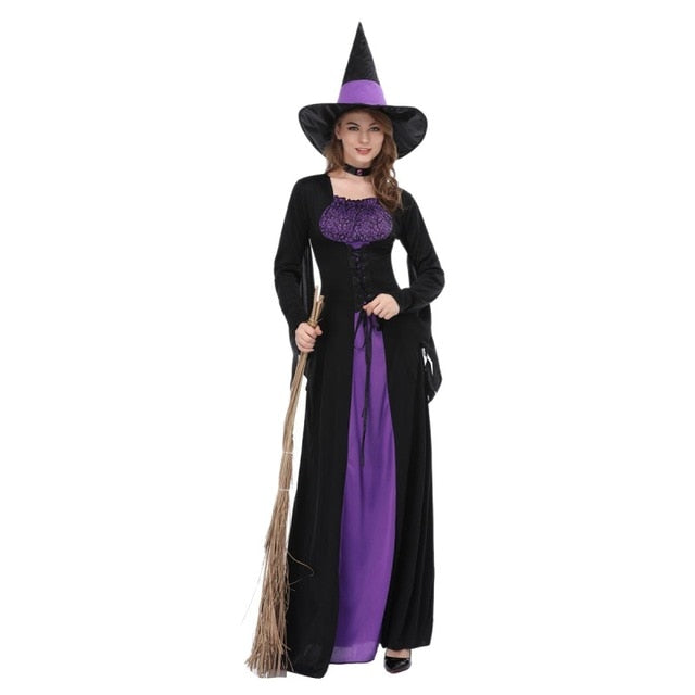1 Set Female Halloween Witch Plus Size Long Dress Terror Costume Autumn Winter Party Dresses(with Bib And hat)