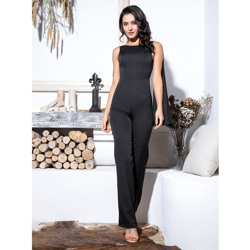 Sexy Black Open Back High Waist Fit Jumpsuit