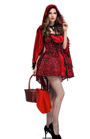 Little Red Riding Hood Costume Halloween Fantasia Fancy Dress Party Fairy Tale Cosplay Outfit For Adult Women