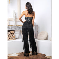 Black Tube Top Reflective Material Tassel Decoration Jumpsuit