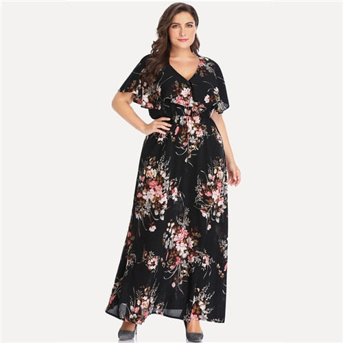 Plus Size Black Floral Print V-Neck Casual Dress Women 2019 Summer Short Sleeve A Line High Waist Trapeze Maxi Dresses