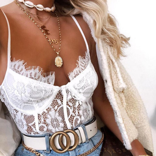 Fashion White Mesh Sheer Lace Bodysuit Summer Hollow Out Straps Bralette Bodysuits Teddy Streetwear Women Tops Chic