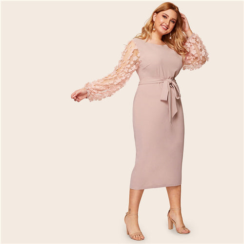 Plus Size Pink Appliques Contrast Mesh Belted Elegant Dress Women 2019 Summer Bishop Sleeve Pencil Party Midi Dresses