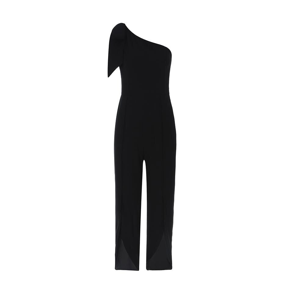 Newest Summer Celebrity Party Jumpsuit Women Black Sleeveless One-Shoulder Sexy Runway Full Length Jumpsuit Women Vestidos