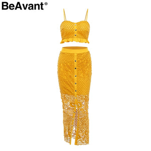 Sexy two piece set women summer dress Spaghetti strap button long dress elegant Hollow out party club ladies dresses
