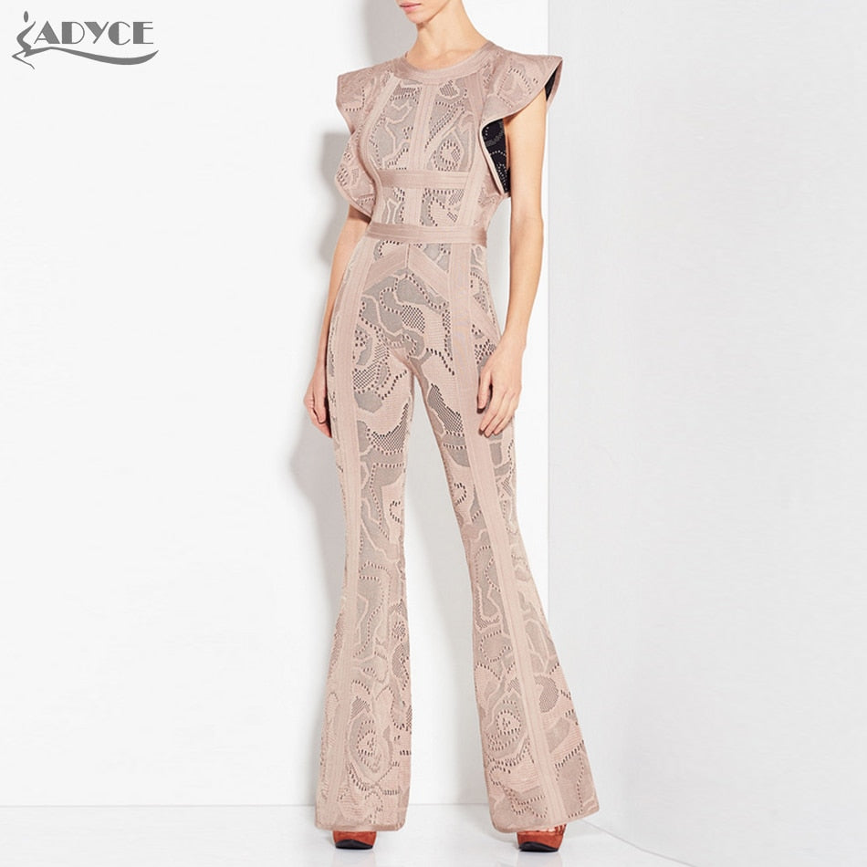 New Bandage Jumpsuits Women Long Rompers Bodysuit Black Khaki Boot Cut Celebrity Party Long Jumpsuit Clubwear