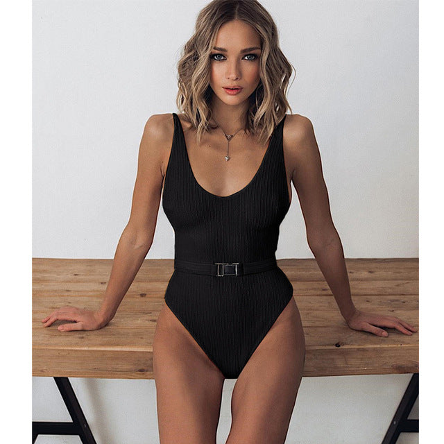 Sexy One Piece Swimsuit Women Swimwear Push Up Monokini Bodysuit Backless Swim Suit Solid Bathing Suit Summer Beach Wear