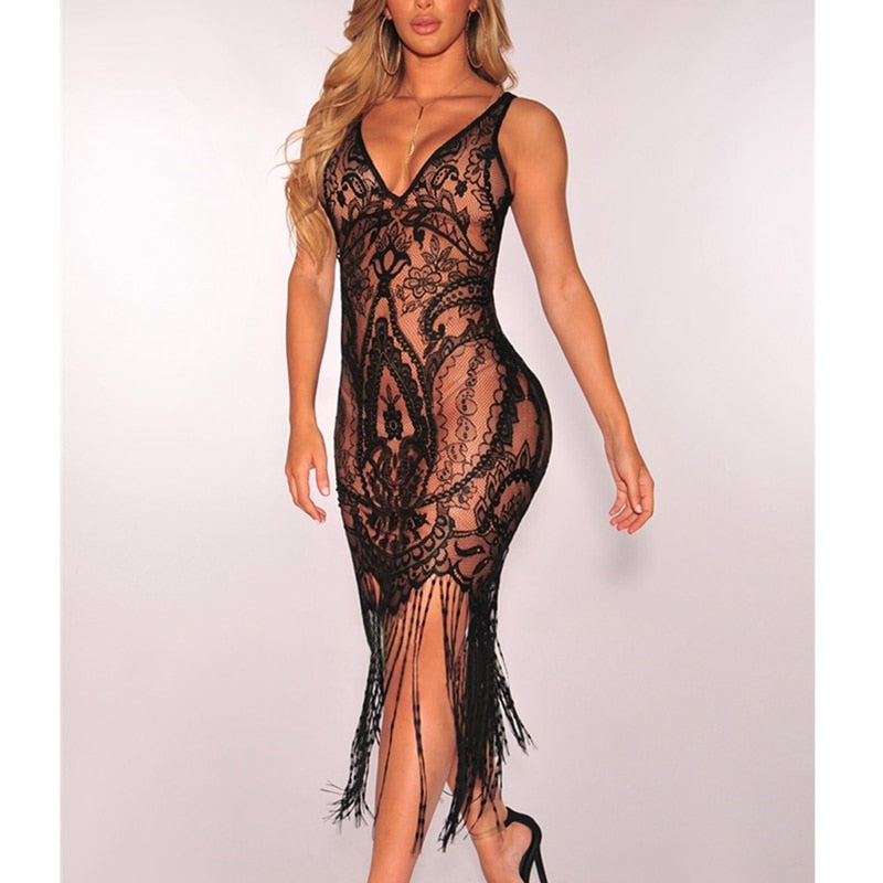Women Sexy Summer Tassel Slim Black Lace Hollow Out Bodycon Lace Dress Beach Sleeveless Dresses