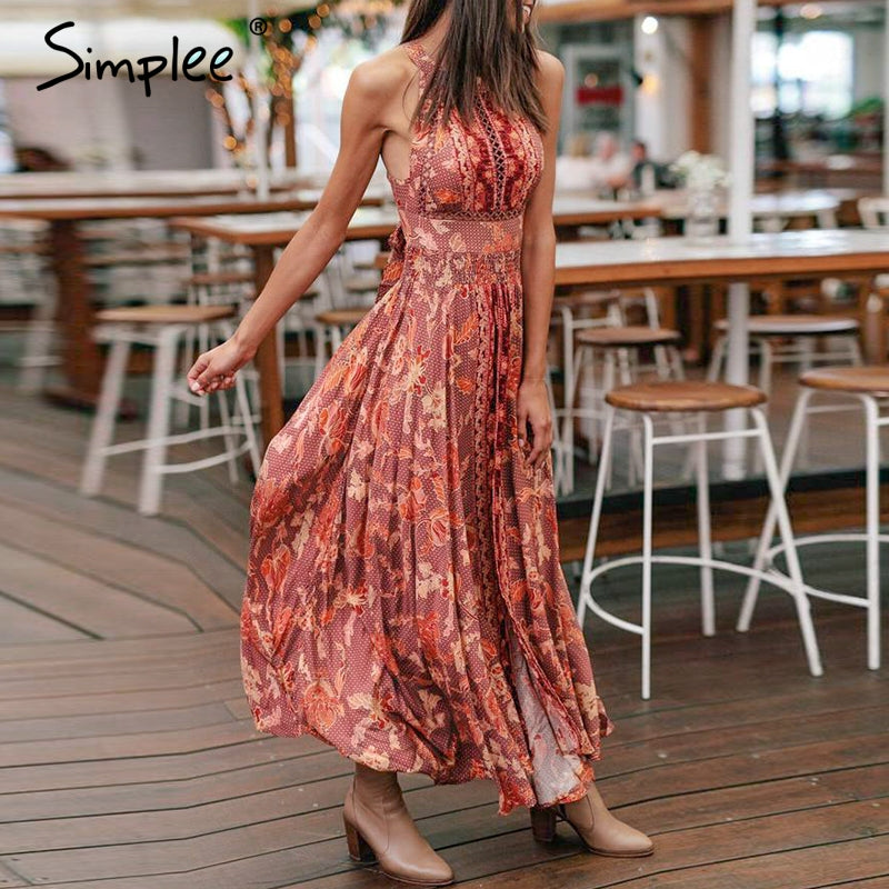 Sexy backless halter women long summer dress Floral print boho lace up female vestidos Holiday beach vintage dresses