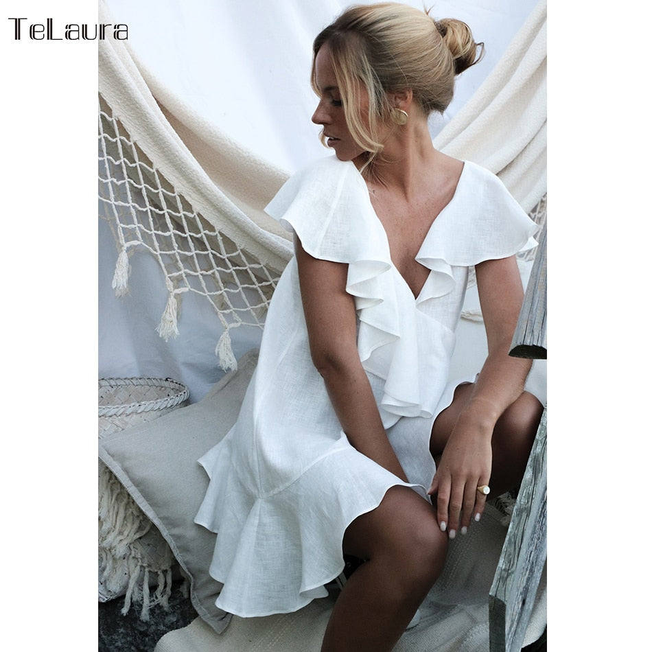 Sexy Beach Cover Up Swimsuit White V Neck Beach Dress Women Bikini Swimwear Bathing Suit Summer Beach Wear Ruffle Tunic