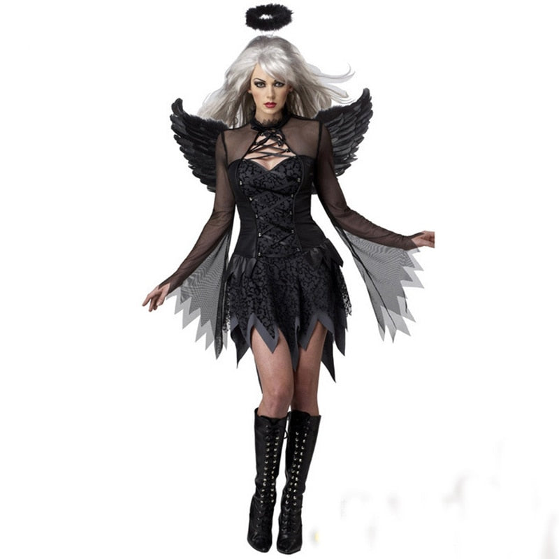 VASHEJINAG Women Sexy Fairy Angel Costume with Wing Halloween Sexy Black Angel Cosplay for Adult Carnival Funny Party Dress