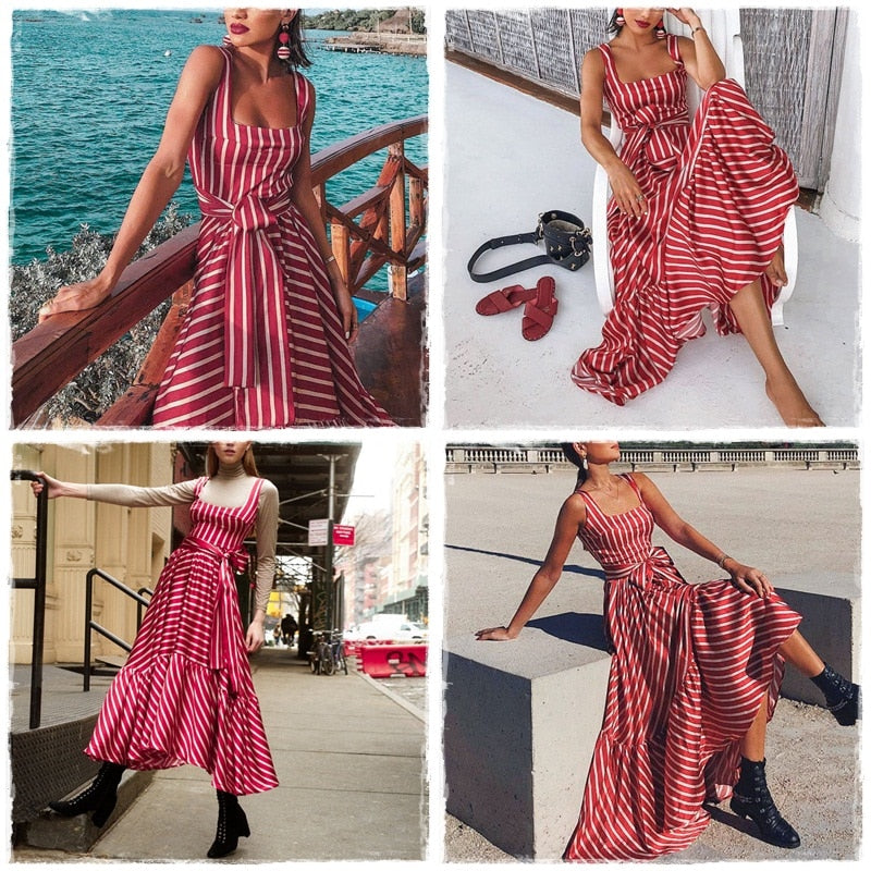 Vintage female striped dress Summer red sleeveless sashes plus size beach dress Holiday long maxi dress for women