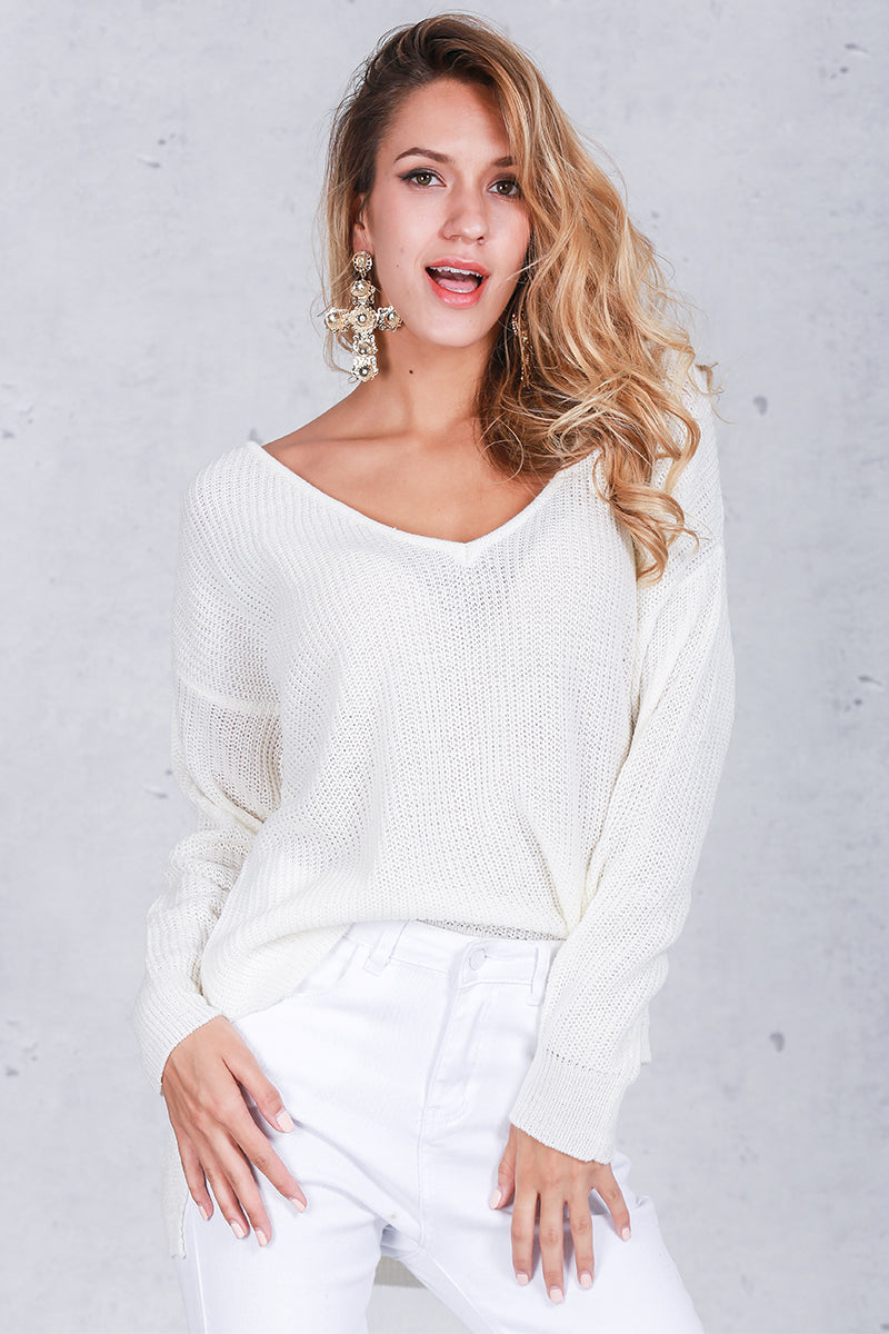 Sexy V Neck Split Knitted Sweater  LAVELIQ - Laveliqus