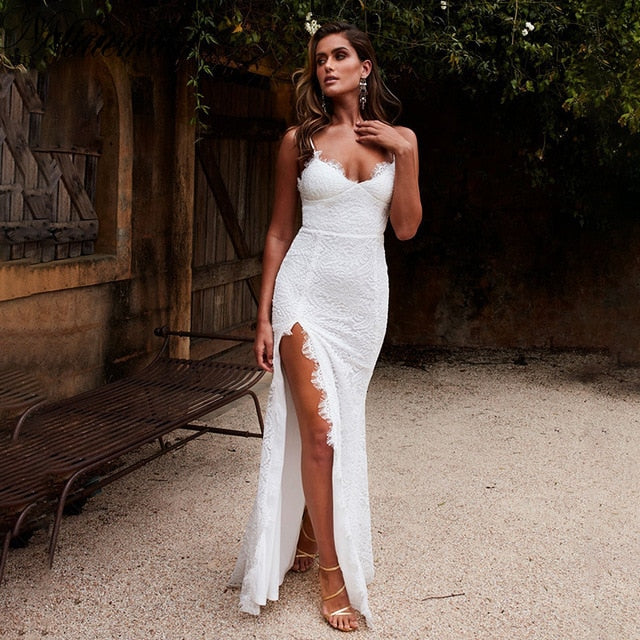 Backless Strapless Spaghetti Sexy Lace Dress Elegant Summer High Split White Dress Women Maxi Long Dress Vestidos