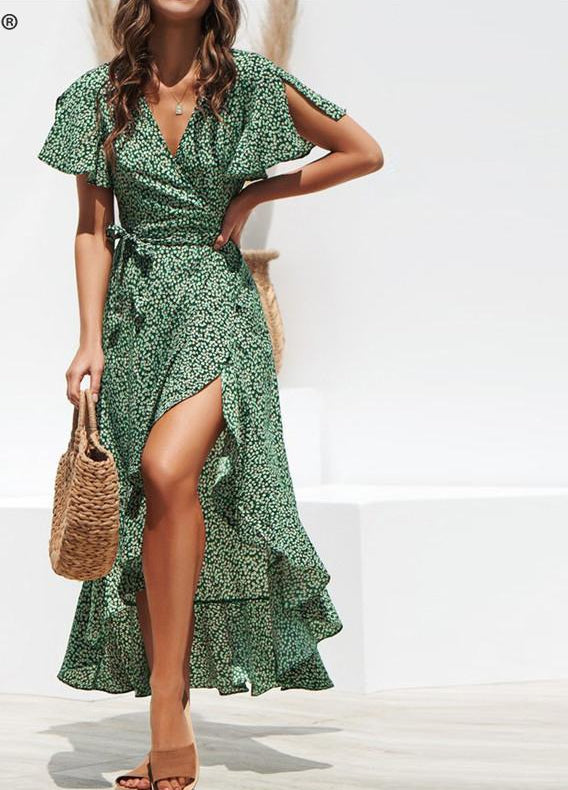 Leopard print dress women Summer sashes long green split floral print beach dress Sexy holiday female plus size vestidos