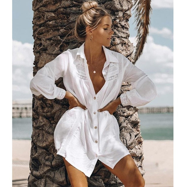2019 New Sexy Beach Cover Up Swimsuit White Lace Beach Dress Women Bikini Swimwear Bathing Suit Summer Beach Wear Tunic