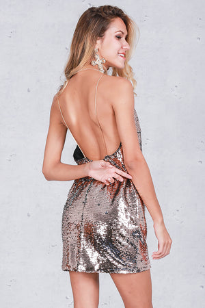 Backless Deep V Sequin Sexy Dress LAVELIQ - Laveliqus
