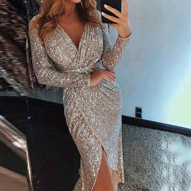 Bigsweety Elegant Women Split Sheath Dresses Long Sleeve Deep V-Neck Shiny Sequins Party Dress Bodycon Clubwear Dresses Vestidos