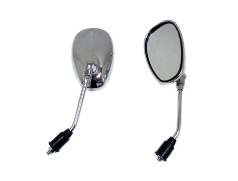 Mirror Set, Retro Style - Chrome - 8mm Right Thread ( Scooter Parts )