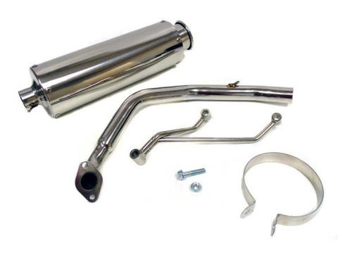 Full Exhaust System for GY6 125cc/150cc Engines. Round Canister. Steel ( Scooter Parts )