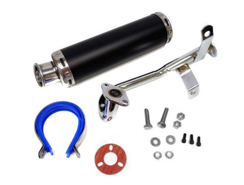 Full Exhaust System for GY6 50cc/80cc Engines. Round Canister, Steel ( Scooter Parts )
