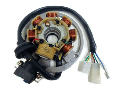 Stator Assembly, 6 Cables - 50cc 2 Stroke (Minarelli/Yamaha Chinese Clone) Engines ( Scooter Parts )