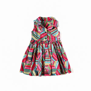 2T Cedar Dress - Multi Colour Geo