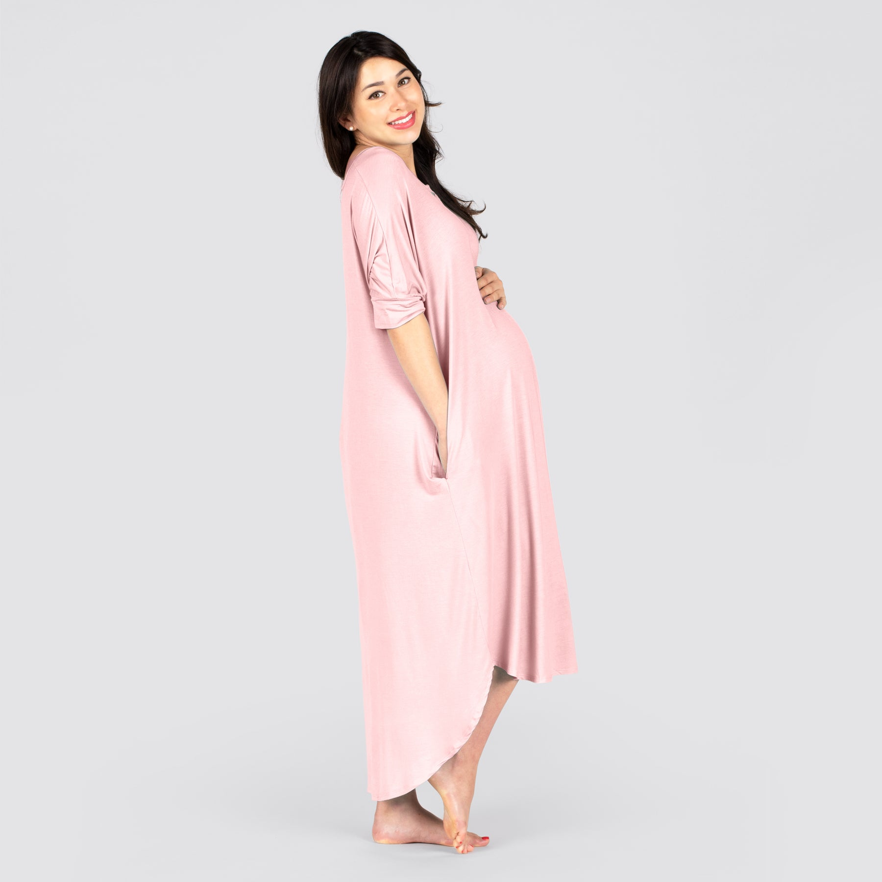 Made for pregnancy, labor, nursing, and beyond. The soft premium bamboo maternity dress is perfect for C-Sections and swelling when pants won't fit, this dress provides comfort while you heal. Buttons at the neckline makes breastfeeding a breeze.