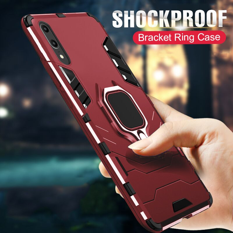 detailed look 724ab 2b3b4 Luxury Armor Holder Case For Huawei P20/P20 Pro/P20 Lite ZTTH110905