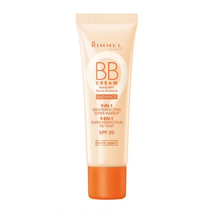 Rimmel Wake Me Up Radiance BB Cream 9-in-1 Skin Perfecting Super Makeup SPF 20, Light - Shopping District
