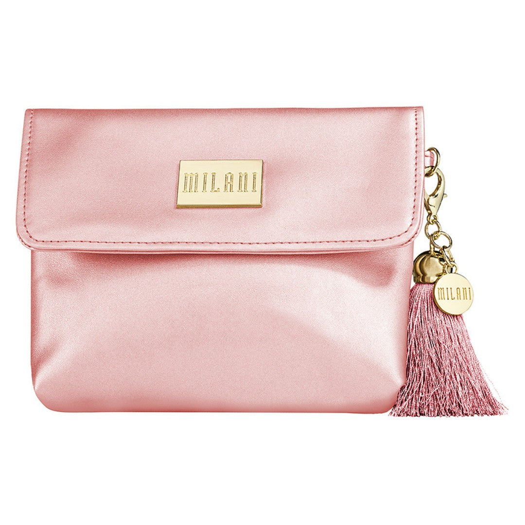 Milani Vegan Leather Cosmetic Blush Coral Pink Make Up Bag w/ Gold Tassel Clip - Shopping District