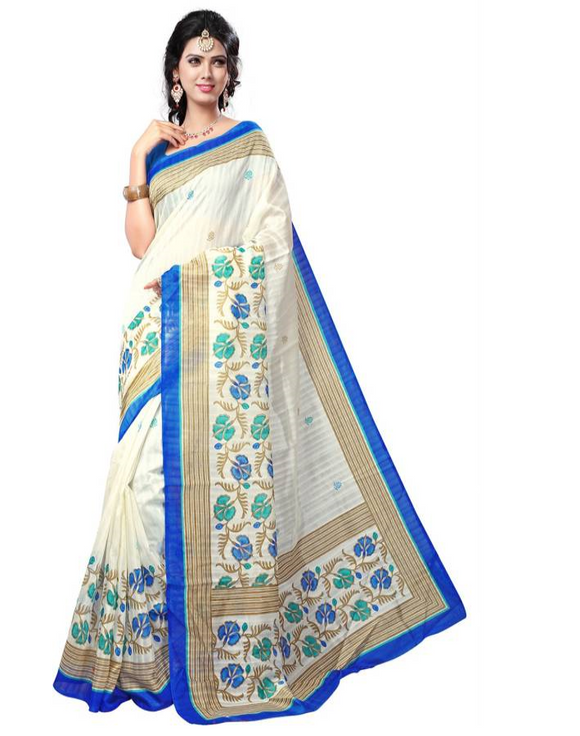E-Vastram Printed Bollywood Printed Silk Saree  (Beige, Blue)