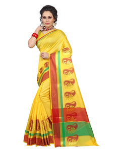 e-VASTRAM Womens Cotton silk saree (PKY_YELLOW)