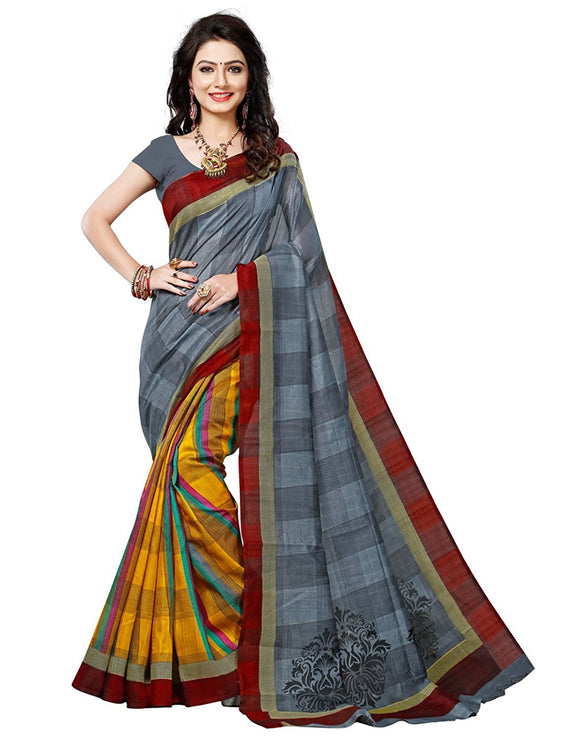 e-VASTRAM Women's Silk Saree With Blouse Piece (Angoori3_Mustard)