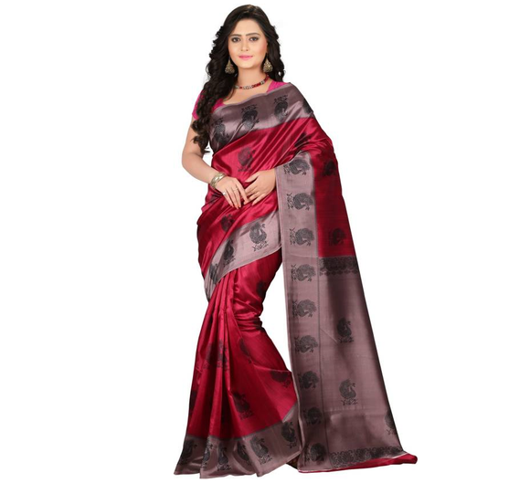 E-Vastram Printed Bollywood Art Silk Saree  (Pink)