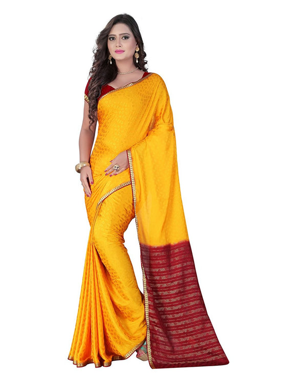 E-Vastram Crepe Saree (Crapey_Yellow)