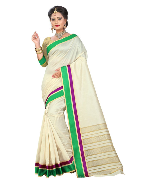 e-VASTRAM Tassar Silk Saree Without Blouse Piece(Razg_Beige Free Size)