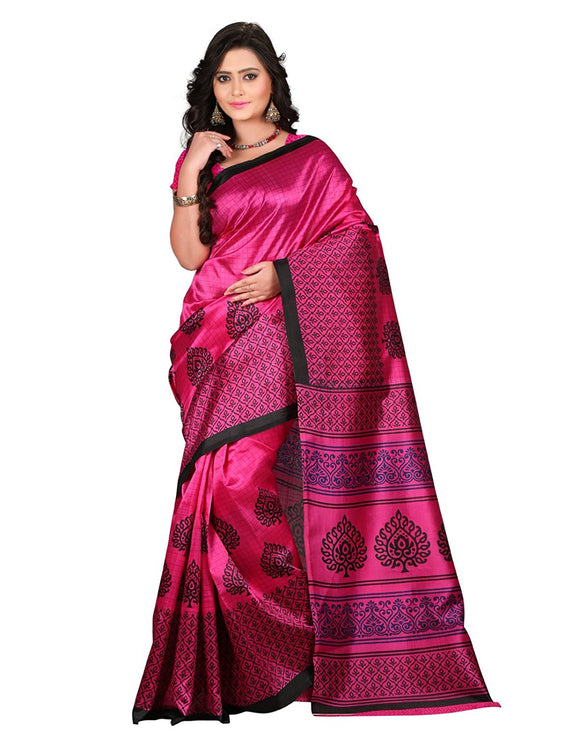 e-VASTRAM Women's Art Mysore Printed Silk Saree(NS2C_Pink)