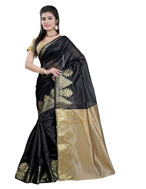 e-VASTRAM Women's Silk Saree With Blouse Piece (Dsbl_Black)