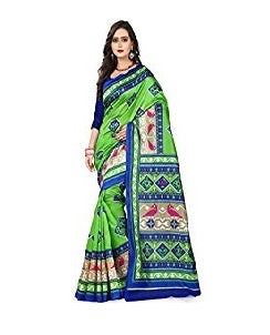 e-VASTRAM Womens Art Mysore Printed Silk(NS25G_Green)