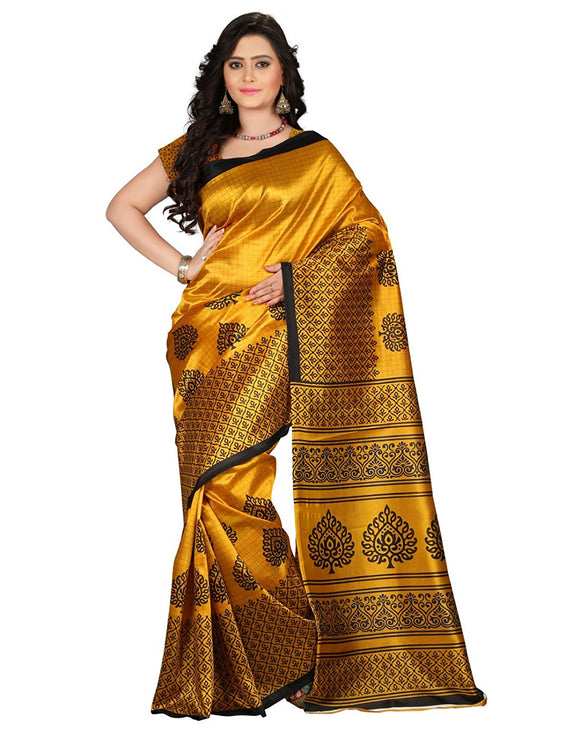 e-VASTRAM Women's Mysore Art Silk Saree (NS2A_Yellow)