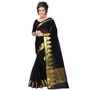 E-Vastram Solid Fashion Cotton, Silk Saree  (Black)