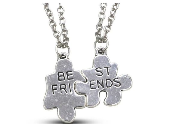 Silverstoli Two-Sectional BEST FRIENDS Pendant Platinum Alloy Pendant