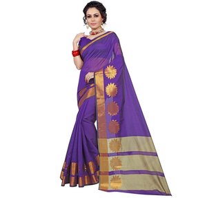 E-Vastram Solid Fashion Cotton, Silk Saree  (Blue)